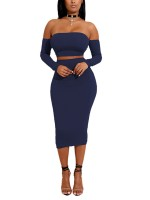 Eye Catch Royal Blue Back Cross Strap Top And Midi Skirt Gentle Fabric