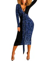 Well-Suited Blue Deep V Neck Bodycon Dress Long-Sleeved On-Trend Fashion