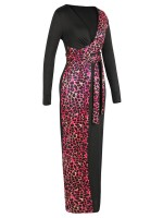 Ravishing Red Colorblock Leopard Tie Bodycon Dress Natural Fit