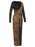 Slinky Yellow Leopard Print Bodycon Dress Deep V Neck For Strolling