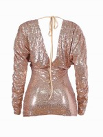 Honey Gold Bubble Sleeve Bodycon Dress Sequin Leisure