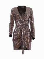 Pretty Gold Bodycon Dress High-Low Hem Sequin For Playing