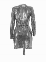 Beautifully Designed Silver V Neck Tie Full Sleeve Bodycon Dress