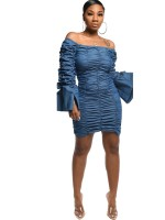 Elegance Blue Solid Color Off-Shoulder Bodycon Dress Womens Apparel