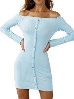 Vintage Light Blue Single-Breasted Mini Bodycon Dress For Female