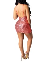 Energetic Red Deep V Neck Sequin Mini Bodycon Dress For Sexy Women