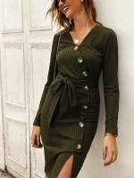 Retro Army Green Waist Knot Bodycon Dress Button V-Neck Online Fashion
