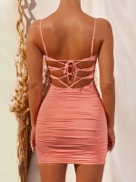 Fashionable Orange Pleated Open Back Bodycon Dress Understated Design