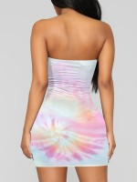 Slim Fit Pink Tie-Dyed Tube Top Dress Mini Length Casual Women