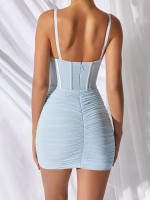 Eye-Catching Light Blue Open Back Bodycon Dress Solid Color Outdoor