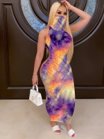Gorgeous Ear-Loop Mask Bodycon Dress Tie-Dye Comfort Fabric