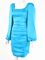 Blue Square Neck Bodycon Dress Puff Sleeves All-Match Fashion