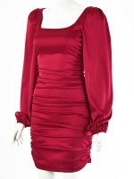 Wine Red Long Sleeve Ruched Bodycon Dress Backless For Streetshots