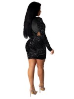 Black Dot Mesh Splice Velvet Bodycon Dress Simplicity