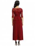 Sultry Wine Red Elastic Lace Hollow Out Solid Color Evening Dress