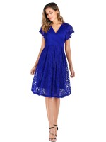 Premium Royal Blue V Collar Evening Dress Lace High Waist Fashion Style