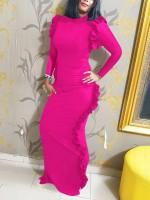 Shimmer Rose Red Split Full Sleeve Plain Evening Dress Sheath