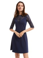 Pullover Royal Blue Zip Back Mini Patchwork Evening Dress Fashion Trend