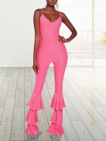 Loose Fitting Light Pink Open Back Jumpsuit Sling Solid Color Chic Trend