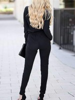 Women's Sexy Wrap Top Full Length Long Sleeve Knit Jumpsuit