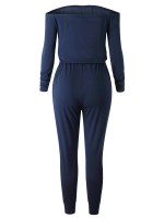 Laid-Back Dark Blue Dew Shoulder Waist Belt Jumpsuit For Girls