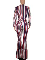 Body Hugging Red Stripe Pattern V-Neck Tie Jumpsuit Fashion Comfort