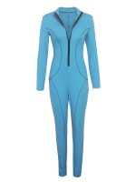Gorgeously Blue Shirt Collar Zip At Front Jumpsuit For Girls