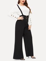 Extraordinary Black High Waist Solid Color Jumpsuit Cool Fashion