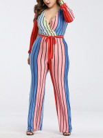 Feminine Curve Rosy Deep-V Neck Jumpsuit Long Sleeves Tie
