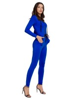 Edgy Blue Ankle Length Long Sleeve Jumpsuit Female Charm