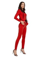 Gorgeously Red Hooded Collar Jumpsuit Tie Waist For Every Occasion