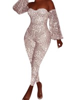 Stretchable Pink Off Shoulder Sequin Jumpsuits Big Size For Playing