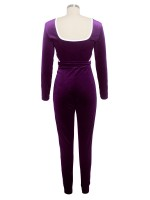 Purple Hollow Out Jumpsuit Patchwork Full Length Comfort