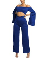 Marvelous Blue Off Shoulder Wide Leg Zip Jumpsuit Heartbreaker