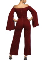 Lovely Jujube Red Solid Color Zip Jumpsuit Wide Leg Leisure Time