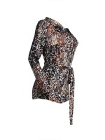 Eye-Appealing Brown Lapel Tie Romper Leopard Pattern Wholesale