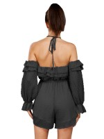 Hot Black Full Sleeve Cold Shoulder Jumpsuits For Sauntering