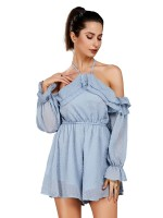 Fashionable Full Sleeve Cold Shoulder Rompers Strap Comfort Fabric