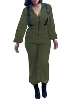 Energetic Army Green Jumpsuit Long Sleeve Belt Solid Color