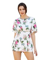 Delicate White Short Sleeve Floral Print Jumpsuit Ideal Choice