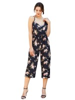 Beautifully Designed Black Spaghetti Strap Jumpsuit Floral Printed