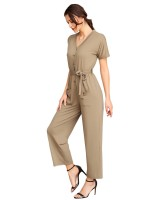 Silhouette Army Green Knot Waist V Neck Romper With Pocket Romance Time