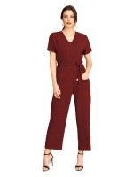 Elegant Wine Red Short Sleeves Button Wide Leg Jumpsuit For Vacation