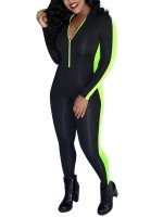 Sensual Curves Green Full Length Jumpsuit Long Sleeve Sexy Ladies