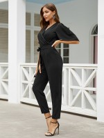 Pleasurable Black Tie Waist Jumpsuit V Neck Hollow Out Comfort