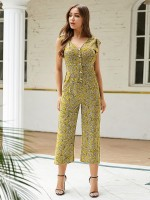 Illusion Yellow Jumpsuit Floral Print Button Front Elasticity