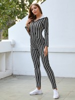 Sheath Black Stripe Printed Jumpsuit Hooded Neck Slim