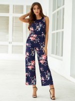 Flowing Blue Flower Printed Jumpsuit Sleeveless Romance