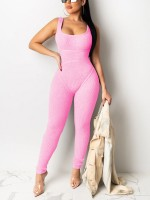 Romance Pink Knit Sleeveless Jumpsuit Solid Color For Girls