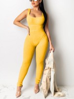 Elegance Yellow Wide Strap Solid Color Jumpsuit Gentle Fabric